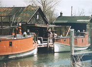 Early fishing boats docked at Fishtown in Leland Michigan