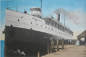 Great Lakes steamship Missouri boarding passengers at Glen Haven Michigan, 1915